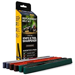 """Replacement Abrasive Belt kit for the Work Sharp Knife & Tool Sharpener (WSKTS). Kit includes (2) P80 Coarse belts, (2) P220 Medium Grit Belts and (2) Fine Grit Honing Belts - 6 total belts. Belts are 1/2"""" x 12"""" and do not fit other Work ..."""