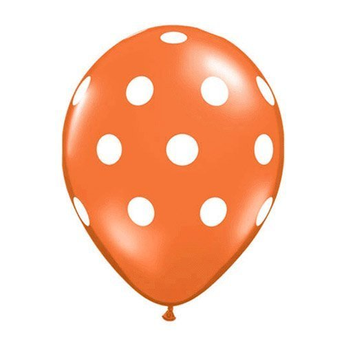 Orange Polka Dot Balloons (10 Pack) - 12 Inch Inflatable Latex Balloons, Polka Dot Orange Wedding Supplies, Orange Birthday Party Decorations by