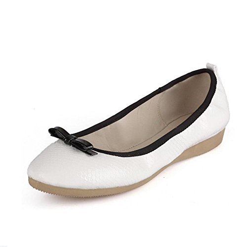 Materials Solid Round Low Pumps Blend Odomolor Women's Heels Pull White Toe Closed On shoes wqtYc