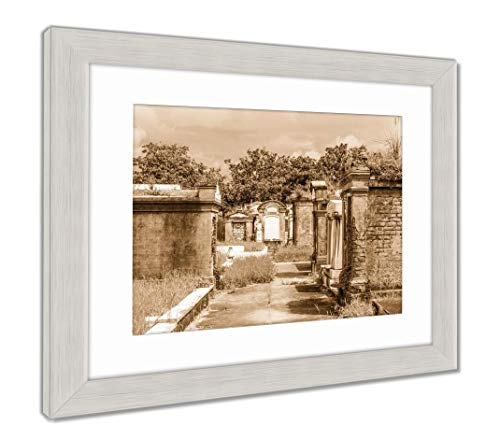(Ashley Framed Prints Lafayette Cemetery in New Orleans with Historic Grave Stones, Wall Art Home Decoration, Sepia, 26x30 (Frame Size), Silver Frame,)