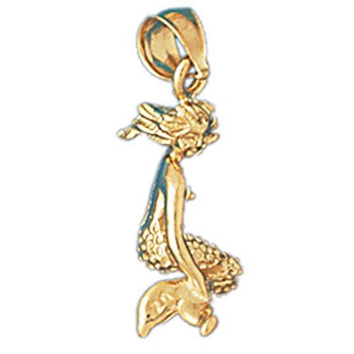 14K Yellow Gold 3D Mermaid Pendant - 22 mm (approx. 2.3 - Mermaid Gold Pendant