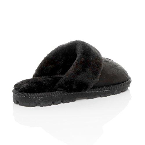 Pantoffeln Herren Hausschuhe Warm Luxuriös Fell Schwarz Größe Geschenk Gefüttert Winter mit Schwarzem Gemütlich Pelz Cq18C