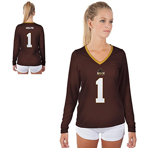 Adelphi University Panthers Womens Long Sleeve V-Neck Shirt Jersey Design (Medium)
