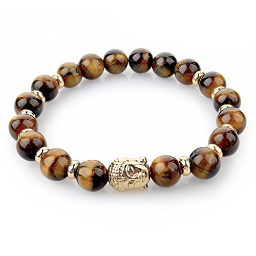 Hot And Bold Healing Accessories Certified Natural Stones & Buddha Charm Reiki/Yoga Positive Energy Beads Bracelet. (Tiger Eye Buddha)