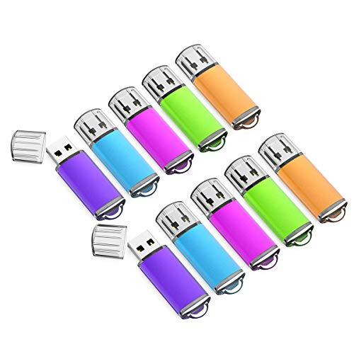 64GB USB Flash Drive 10 Pack with Easy-Storage Bag Memory Stick K&ZZ Thumb Drives Gig Stick USB2.0 Pen Drive for Fold Digital Date Storage, Zip Drive, Jump Drive, Flash Stick, Mixed Colors (64GB)