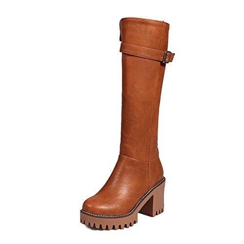 High Brown Closed High Heels Zipper PU Women's Allhqfashion Toe top Boots Round wA1XgWqH