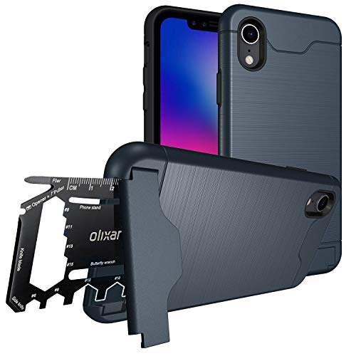 Olixar iPhone XR Tough Case - with 26 in 1 Survival Multi Tool - Protective Armour Cover - Card Slot and Built in Kickstand - X-Ranger - Blue (Case Iphone Tool Multi)