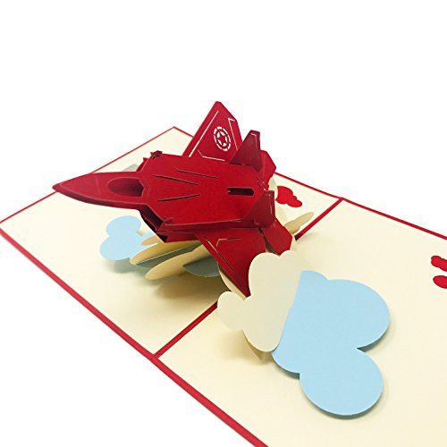 (Red Aircraft - WOW 3D Pop Up Card for All Occasions - Birthday, Congratulations, Good Luck, Anniversary, Get Well, Love, Good Bye)