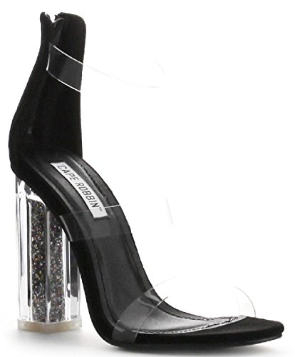 Lucite Heel Shoes (Cape Robbin Maria-7 Lucite Clear Perspex Glitter Block Heel Open Peep Toe Sandal Shoe Black)