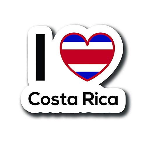 (Love Costa Rica Flag Decal Sticker Home Pride Travel Car Truck Van Bumper Window Laptop Cup Wall - One 5 Inch Decal - MKS0129)