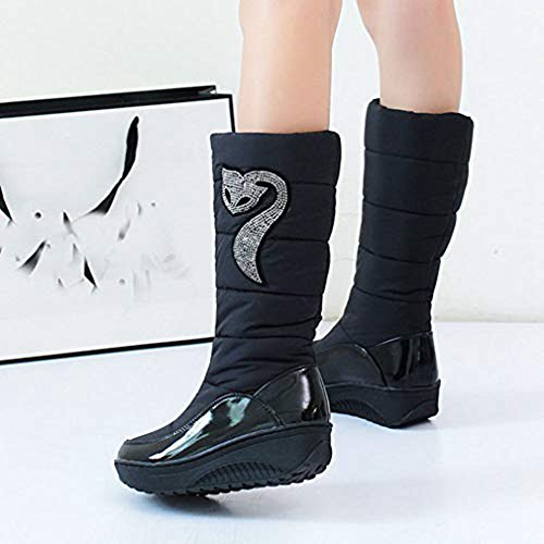 Women's Down Winter Mid Calf Fashion Warm Tall Lined Waterproof Black Rhinestone Fox Boots Shoes Feather Snow rrq0UwBx