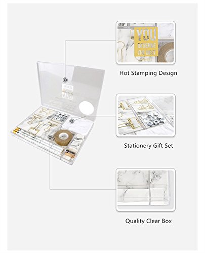Marble White Stationery Gift Kit School Office Supplies Stationery Sets of 24 Gift Items Office Products (Marble White) by MEI YI TIAN (Image #4)