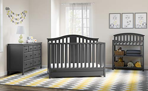 (Graco Solano 4-in-1 Convertible Crib with Drawer, Easily Converts to Toddler Bed Day Bed or Full Bed, Three Position Adjustable Height Mattress, Assembly Required (Mattress Not Included), Gray)