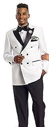 Tuxedo Mens Suit White Double Breasted Blazer Jacket 2 Piece Men Suits Black Bottom TUX203 Wedding (44 R)