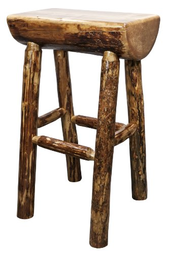 Glacier Country Half Log Backless Barstool