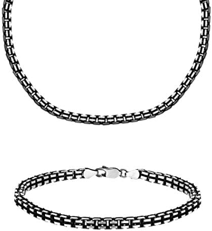 """Tuscany Silver Sterling Silver Oxidised Grooved Set of Box Chain and Bracelet of 51cm/20"""" and 20cm/8"""""""