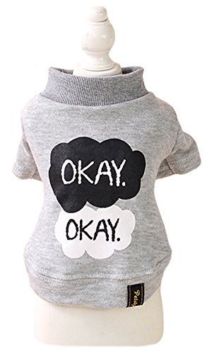 Price comparison product image MaruPet Sweety Warm Autumn Fleece Two-legs Okay Wind Printed Bottoming Shirt Vest Top Apparel for Teddy, Chihuahua, Shih Tzu, Yorkshire Terriers Gray M