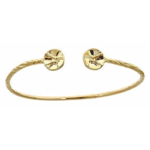 10K-Yellow-Gold-West-Indian-Bangle-w-Drum-Ends-MADE-IN-USA