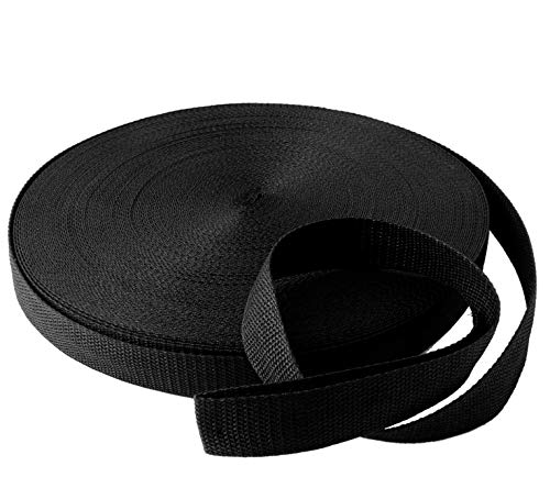 "Black Polypropylene Webbing 50 Yards x 1-inch; 1"" Wide Black Polypro Strap Webbing; Great for Bags, Outdoor Gear; Collars, Leashes, Halters, Sporting Gear & More"