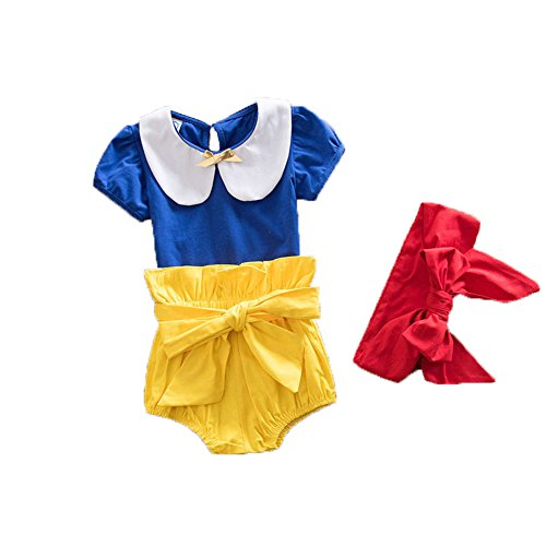 Himine Baby Girls Fairy Princess 3-piece Suit Costumes T-shirts/Shorts/Headband Blue 12-18M (Snow White Costume For Infant)