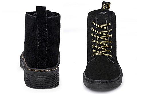 Cystyle Warm Gefütterte Stiefel Damen Schnürstiefeletten Worker Boots Block Absatz Stiefeletten Schwarz-Samt