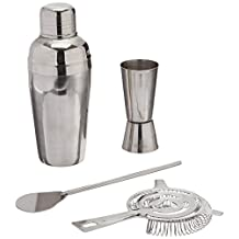 Estilo EST0288 4 Piece Stainless Steel Professional Cocktail Shaker & Bar Tool Set, Silver