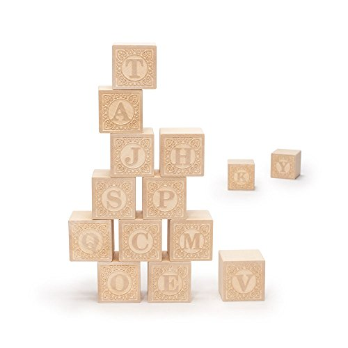Uncle Goose Uppercase Alphablank Blocks - Made in (Wood Baby Blocks)