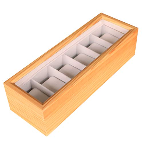 Solid Light Wood Watch Box Organizer with Glass Display Top by Case Elegance -