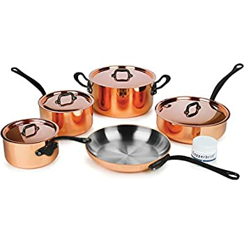 Mauviel Mheritage M250C 9-piece 2.5-mm Copper Cookware Set with Cast Stainless Steel Handles w/Black Iron Finish