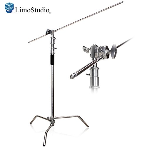 (LimoStudio Heavy Duty C-Stand Kit with 10 ft. Max Height, Turtle Base, 4 ft. Boom Arm Bar, and Chrome Grip Head Adapter Boom Stand for Photo Video Studio, AGG2683)