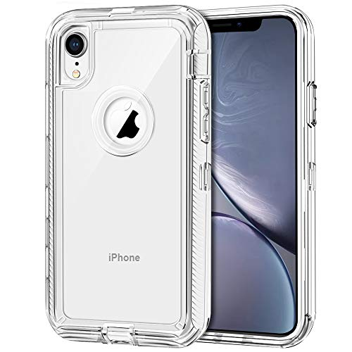 iPhone XR Case, Anuck Crystal Clear 3 in 1 Heavy Duty Armor Defender [Drop Protection] Anti-Scratch Hard PC Shell & Soft TPU Hybrid Shockproof Protective Case Cover for iPhone XR 6.1