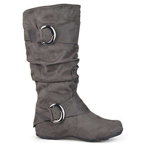 Journee Collection Damen Extra breite Kalb Slouch Schnalle kniehohe Stiefel Graues Wildleder