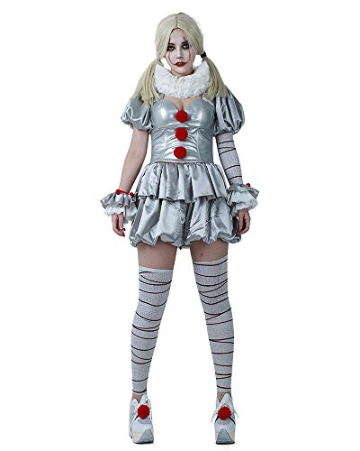 Scary Cosplay Costumes (Cosplay.fm Women's Pennywise The Dancing Clown Cosplay Costume Halloween)
