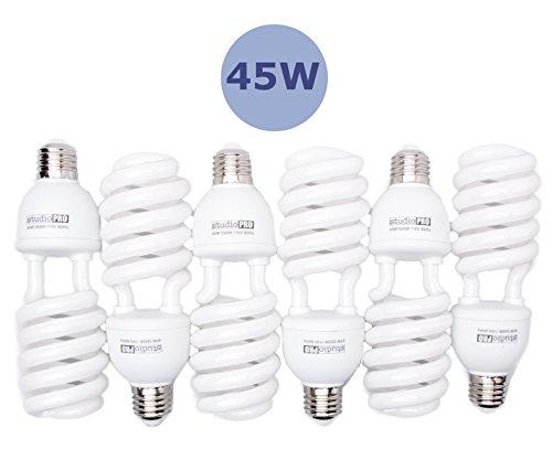 Fovitec  StudioPRO - 6x 45 Watt Daylight Fluorescent Light Bulb - [6 Pack][45W][5500K][CFL][Full Spectrum]
