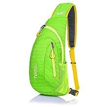 SLIN Ultralight (140G) Sport Chest Bag Sling Shoulder Unbalance Backpacks Crossbody Bag for Hiking Camping Gym Cycling Biking Dog Walking,Green