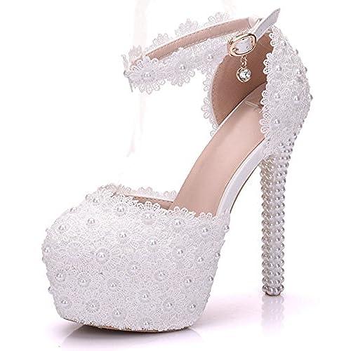 Melesh White Princess Lace Sweet Wedding Bridal Women High Heels Wedge Sandals  14cm lovely 1151afc9469e