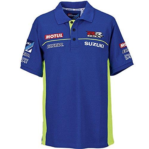 SUZUKI MotoGP Team Polo Shirt kurzarm ! Suzuki Ecstar Racing ! blau weiß neon Gr. 2XL