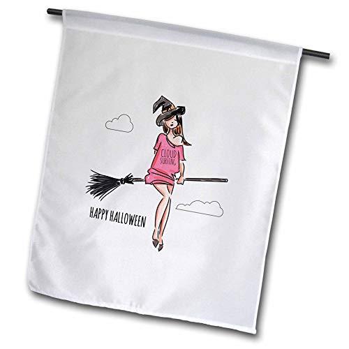 3dRose Alexis Design - Holidays Halloween - Beautiful Witch Flies The Stick. Cloud Surfing. Happy Halloween - 18 x 27 inch Garden Flag (fl_299466_2) -