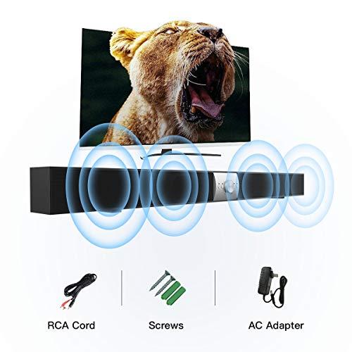 Soundbar Bluetooth Speaker Soundbar Sound Bar for TV 16 Inches Bass Stereo 10W 2.0 Channel 2 Speaker 3.5mm Aux/RCA/TF Card ... (s7)