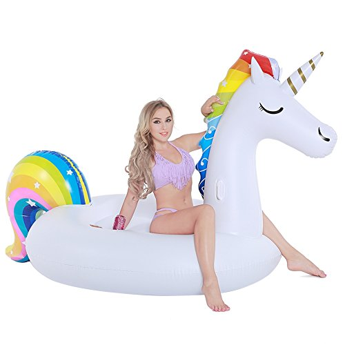 Inflatable Unicorn Pool Float, Funny Pool Party Toys Giant Pool Floats for Adults Kids, Outdoor Vacation Beach Loungers Lake Ride-ons River Raft, 108 x 55 x 48 inches Lounger Pool Float Toy