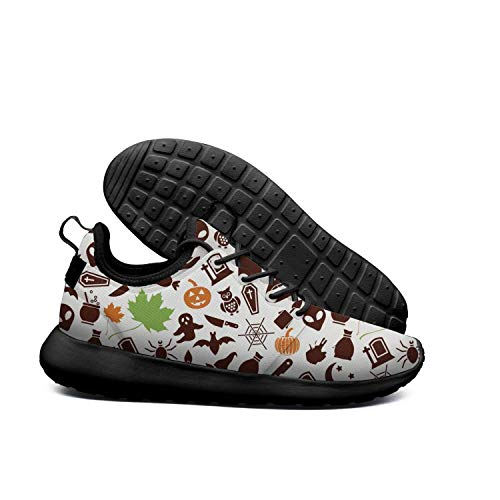 LOKIJM Halloween Ghost Pumpkin Black Tennis Shoes for Women Fashion Highly Breathable Best Running Shoes]()
