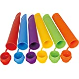 Jypc Rainbow Colors Resistant DIY Silicone Popsicle Molds and Ice Pop Maker with Attached Lids (Set of 6 Colors)