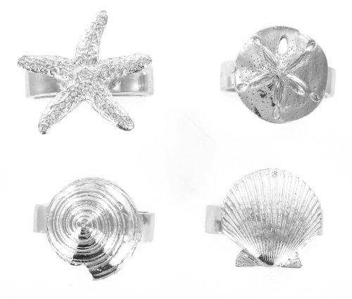 Pewter Seaside Seashell Starfish Napkin Rings Set of 4 ()