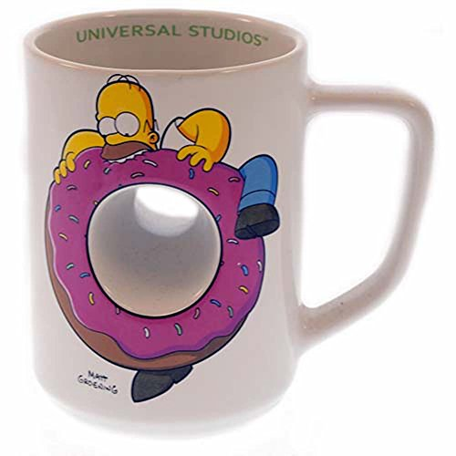 (Exclusive Universal Studios The Simpsons Ride : Homer Simpson Doughnut Ceramic Coffee Cup Mug)