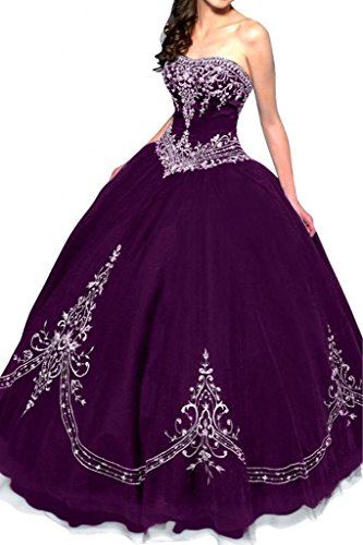 Embroidered Strapless Gown - DLFASHION Women's Strapless Ball Gown Embroidered Quinceanera Dress Size 2 Dark Purple