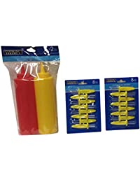 Win 2 Pack Plastic Squeeze Bottle Condiment Ketchup Mustard Oil Mayo Salt and 16 Jumbo Holderrs reviews