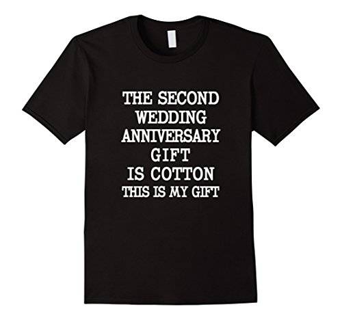 Mens The Second Wedding Anniversary Gift is Cotton – Funny Couple Large Black