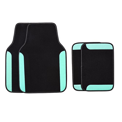 Blue Universal Floor Mat - CAR PASS Rainbow Waterproof Universal CAR Floor MATS (Black with Mint)