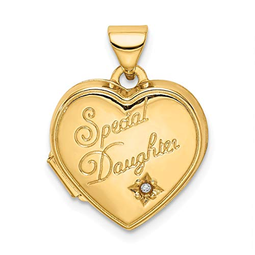 14k Yellow Gold 15mm Heart Diamond Special Daughter Photo Pendant Charm Locket Chain Necklace That Holds Pictures Fine Jewelry Gifts For Women For ()
