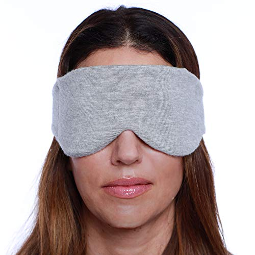 HappyLuxe Sleep Mask, Eco Friendly Travel Accessories, for Men and Women, Soft Luxurious Fabric, Sleeping Aid, Reduces Eye Fatigue, Machine Washable, Made in USA (Brushed Heather Gray)